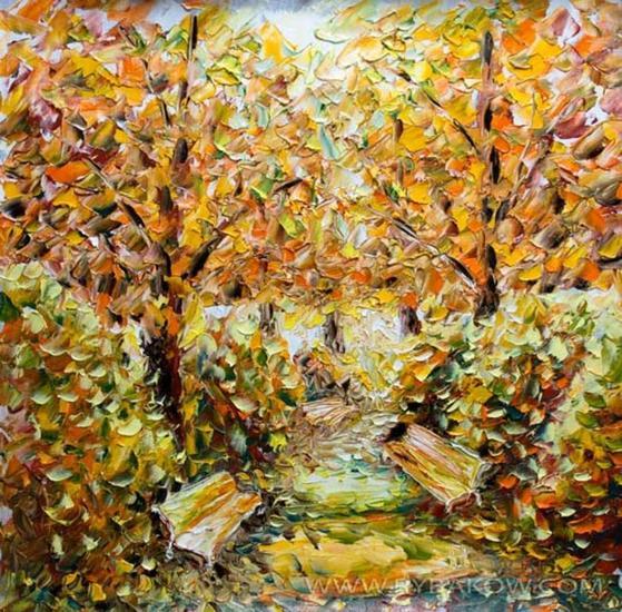 Autumn landscape. Autumn painting: Beginning of autumn - SOLD Paisaje Óleo Lienzo