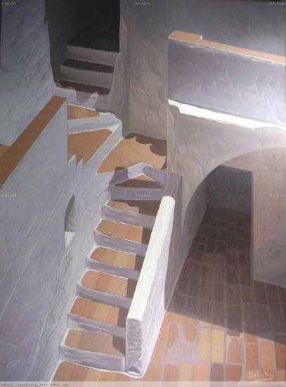 Las escaleras del patio Lienzo Óleo Paisaje