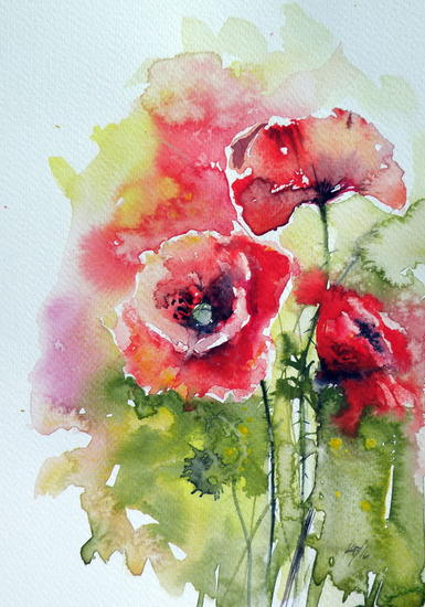 Poppies of summer Papel Acuarela Floral