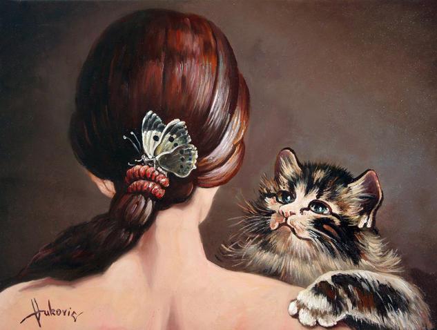 Last game of butterflies Lienzo Óleo Retrato