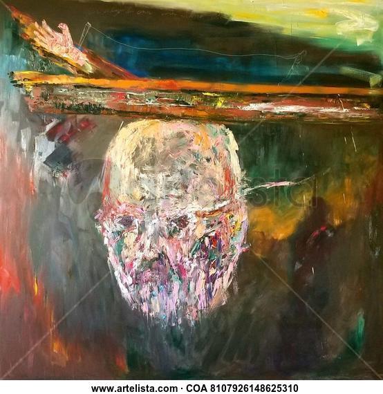 UNA CRUZ Y UNA MANO SIN FÉ.- 200cm x 200cm Figure Painting Oil Canvas