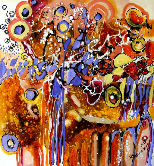 ABSTRACT ,original art , painting by E.Bissinger Lienzo Óleo Otros