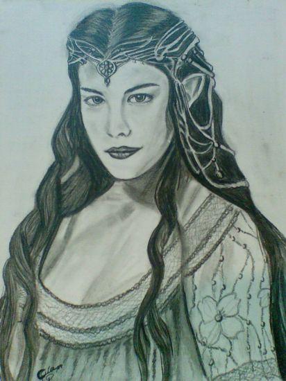 Arwen, la elfa (Señor de los Anillos). Cartulina Lápiz (Negro) Retrato