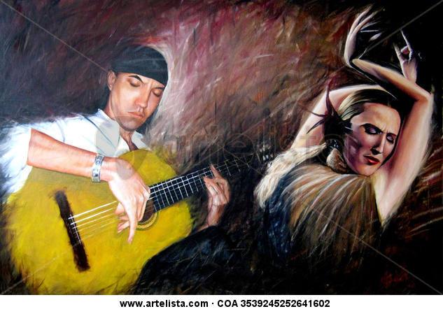 Pasion Flamenco Lienzo Óleo Retrato