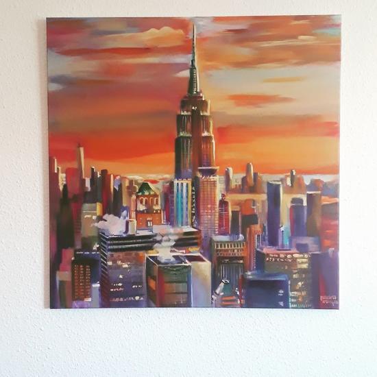 Atardecer en Nueva York. Sunset in New York  Paisaje Óleo Lienzo