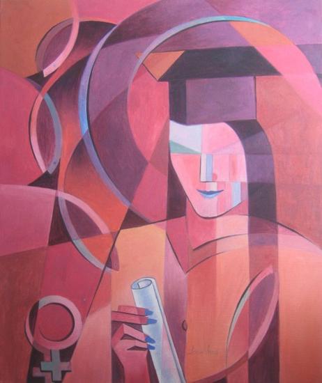 MI GRAN ESFUERZO Portrait Oil Textile