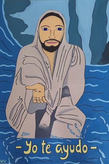 Jesucristo Animales Óleo Lienzo