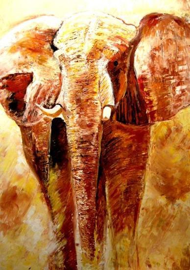Elefante Lienzo Óleo Animales
