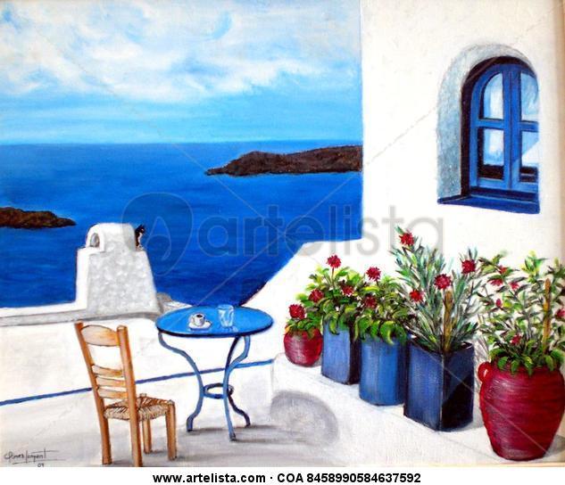 Terraza griega Lienzo Acrílico Paisaje