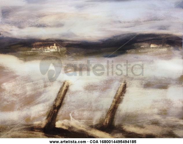 Niebla en al camino Piel Acuarela Paisaje