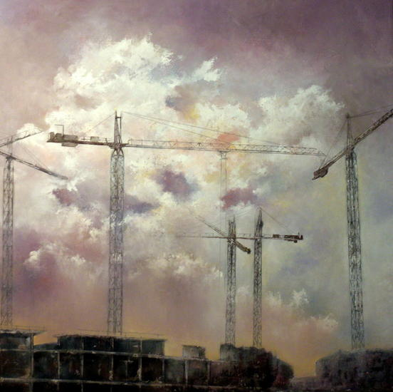 Cielo con gruas Canvas Oil Landscaping