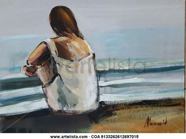 Mujer mirando el mar Otros Óleo Marina