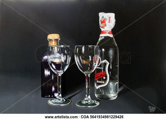 Vino y Gaseosa Bodegones Óleo Lienzo