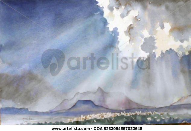 LUZ SOBRE EL AJUSCO Paper Watercolour Landscaping