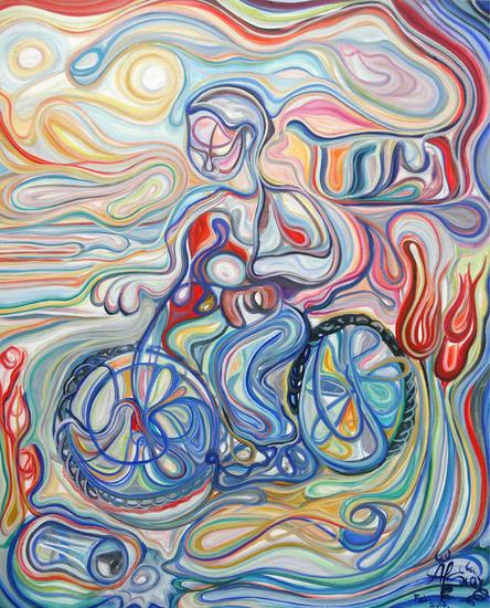 Autorretrato en bicicleta Figura Óleo Lienzo