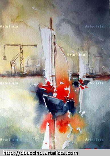 abstracto marino Acuarela Marina Papel