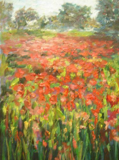 paisaje con amapolas Oil Canvas Landscaping