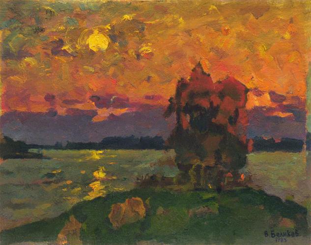 Sunset above the river Paisaje Óleo Otros