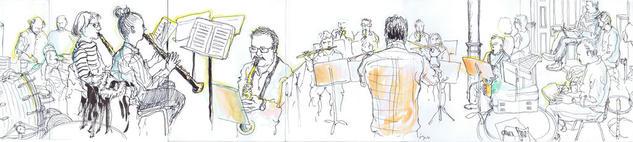 Dibujando en la Escuela de Música de Bilbao Técnica Mixta