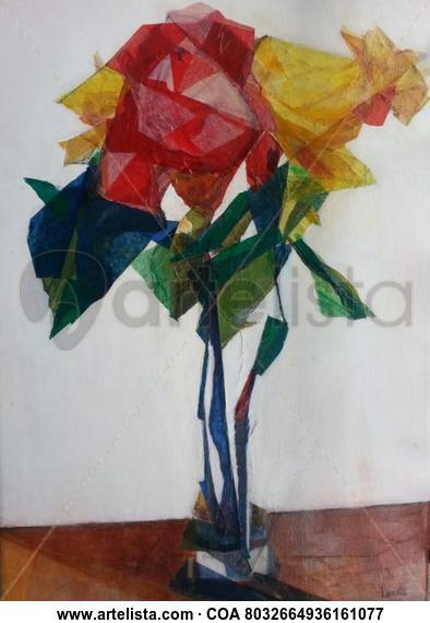 Tres rosas Floral Media Mixta Lienzo