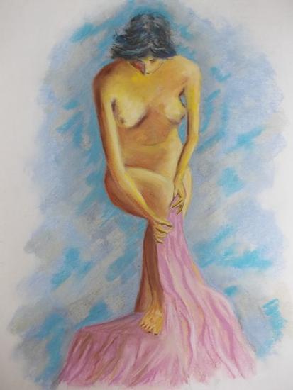Afrodita en el baño Cartulina Pastel Desnudos