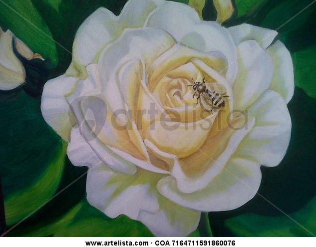 Trabajando Tabla Óleo Floral