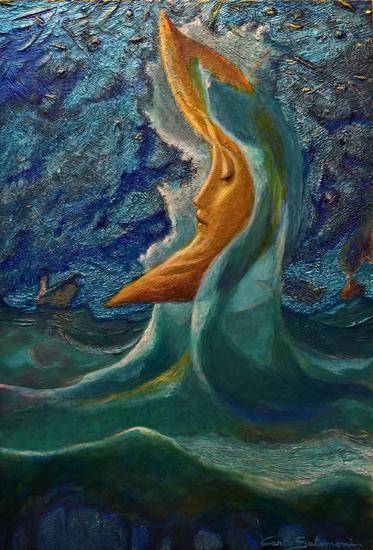 LUNA AMARILLA DE LA MAREA - ( Listo para colgar ) Tabla Acrílico Marina