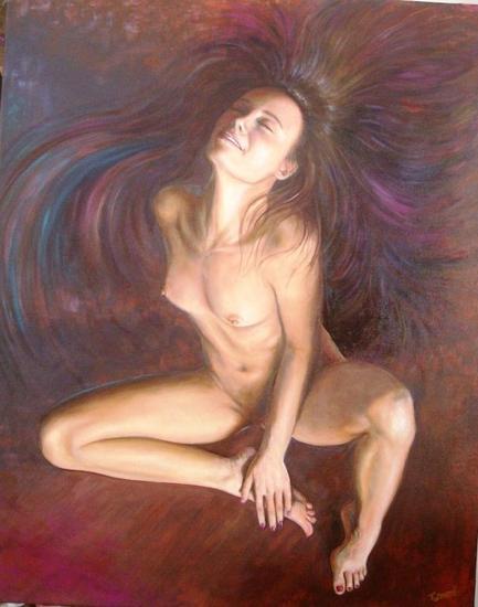 Entre el fuego y el cielo Nude Paintings Canvas Oil