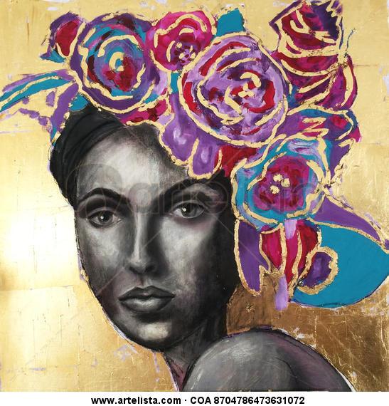 Mujer con flores 2 Canvas Oil Portrait