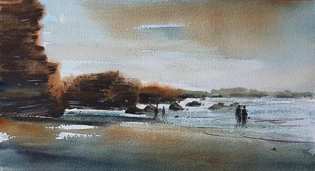 nocturno en la playa de las catedrales Marine Painting Watercolour Paper