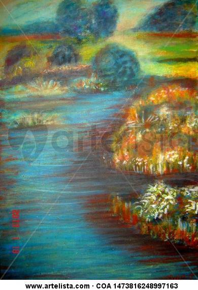 Tájkép Floral Acrílico Tabla