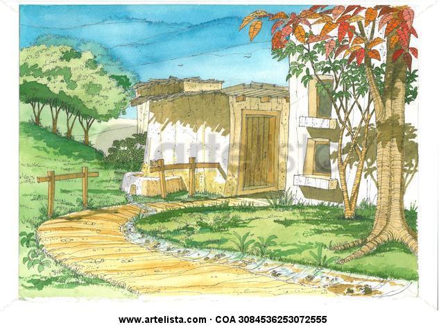 Lugar 16 Paisaje Acuarela Cartulina