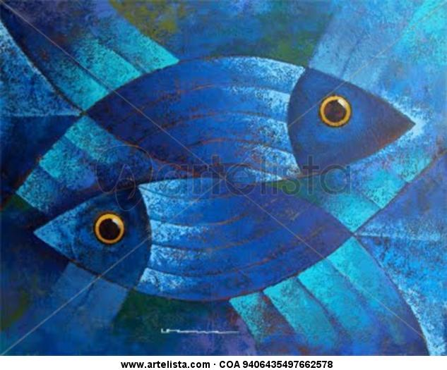 serie peces Lienzo Acrílico Marina