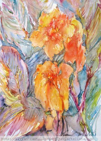 Cayenas Acuarela Papel Floral