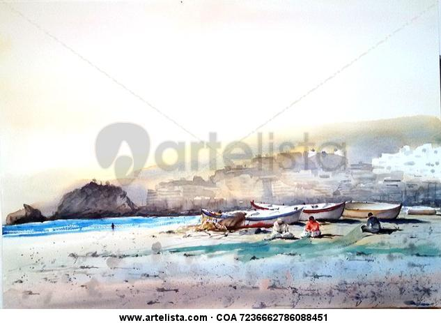 Pescadores en Almuñecar Acuarela Marina Papel