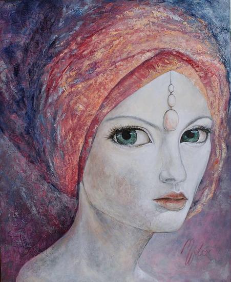 Los Ojos De Dios VI Portrait Oil Canvas