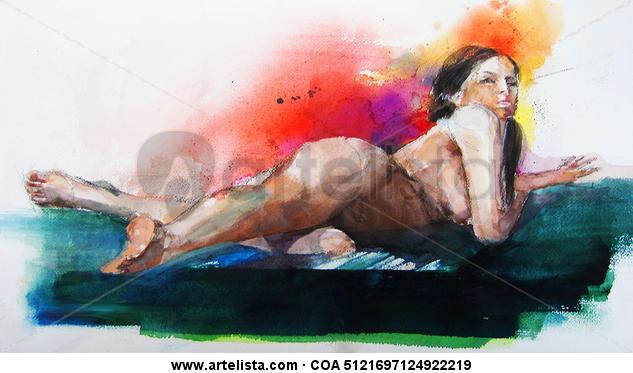 Desnudo en Escorso. Cartulina Acuarela Desnudos