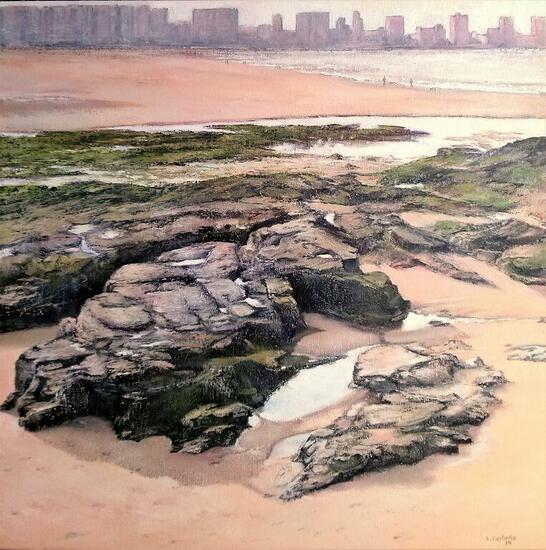 A pie de playa-San Lorenzo-Gijon Paisaje Óleo Lienzo