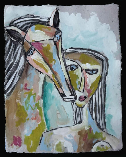 Mujer y caballo Figure Painting Acrylic Paper