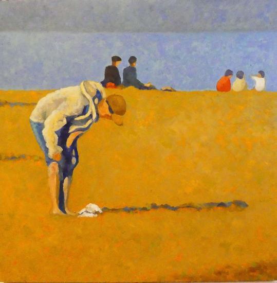 Atardecer en Genoveses Panel Oil Figure Painting