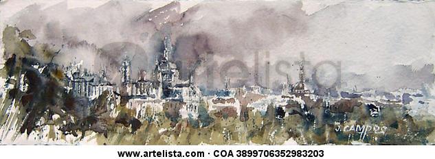 Madrid vista desde La Casa de Campo Paisaje Acuarela Papel