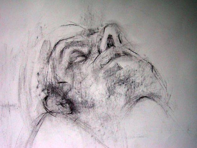 343-escorzo rostro hombre Carboncillo