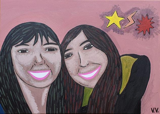 Pati y yo, bestfriends Retrato Acrílico Lienzo