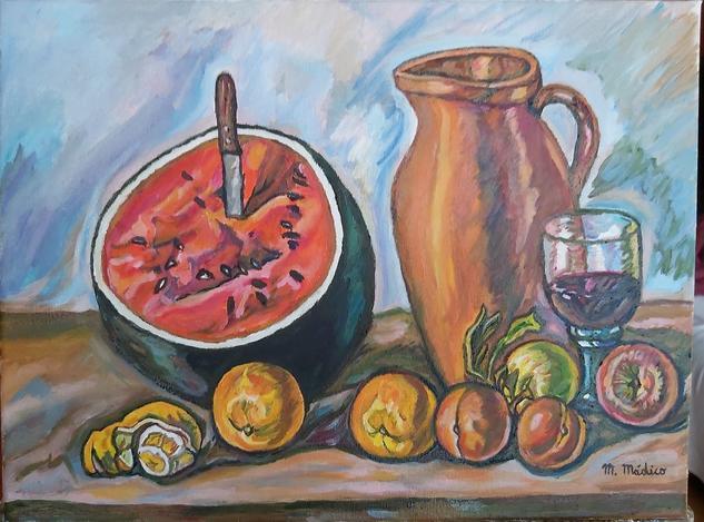 Bodegon,con frutas ,jarra y copa de vino Bodegones Óleo Tela