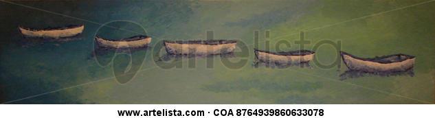 Barcas fondeadas Lienzo Acrílico Marina