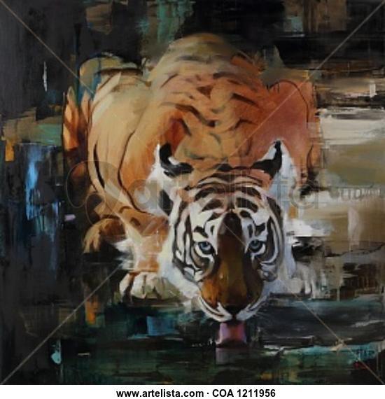 Tiger Animales Óleo Lienzo