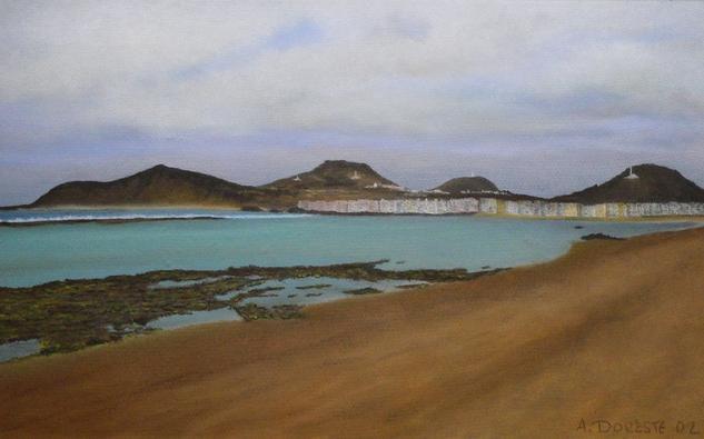 Playa de Las Canteras Cartulina Pastel Paisaje