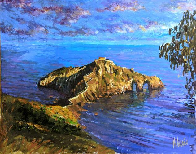San Juan de Gaztelugatxe. Cuadros decorativos de paisajes Marine Painting Gouache Panel