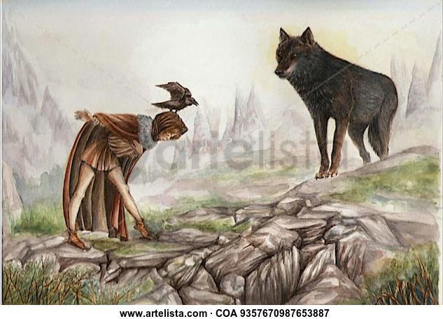 Lobo de las montañas Animales Acuarela Papel