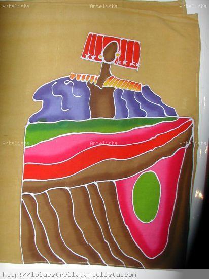 menina batik Tela Otros Figura